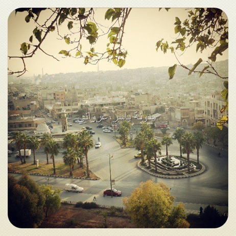منظر عام لمدينة حماة يظهر بالصورة جامع الحسنين