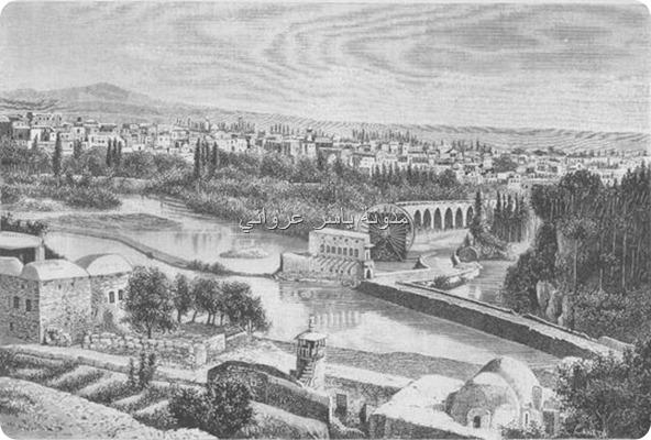 منظر عام لمدينة حماة القرن التاسع عشر