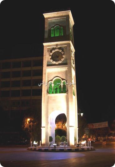 برج ساعة حماة لقطه ليلية